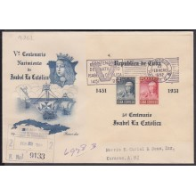 1952-FDC-110 CUBA ANTILLES FDC. 1952. HF IMPERF ISABEL LA CATOLICA. REGISTERED TO CURAÇAO.