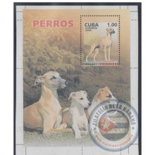 2006.124 CUBA 2006 MNH IMPERFORATED PROOF SPECIAL SHEET. PERROS. DOG. WHIPPET. PERFORATION ERROR.