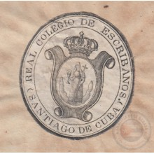 ABO-92 CUBA (LG1510) SPAIN ANT. REVENUE LAWYER AND ATTORNEY DOC SANTIAGO SEALLED PAPER 1850-51 SELLO 3.
