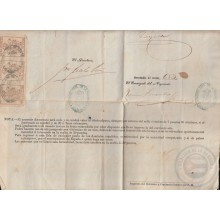 POL-77 CUBA (LG1535) SPAIN ANT.OLD PASSPORT TO SPAIN ANT. 1883 + REVENUE POLICE STAMP 50c.