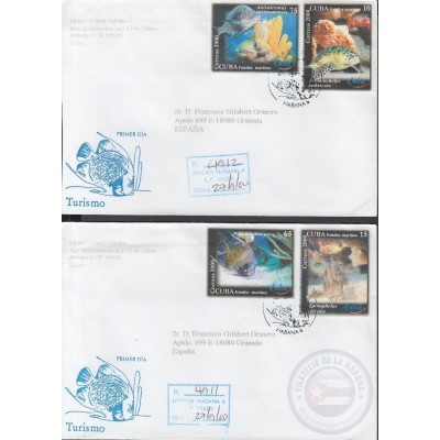 2000-FDC-43 CUBA FDC 2000. REGISTERED COVER TO SPAIN. TURISMO, PECES, FISH, TURISM.