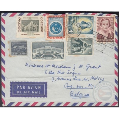 1956-H-69 CUBA 1956 4c+12c JEANNETTE RYDER 1957 COVER TO BELGIUM.