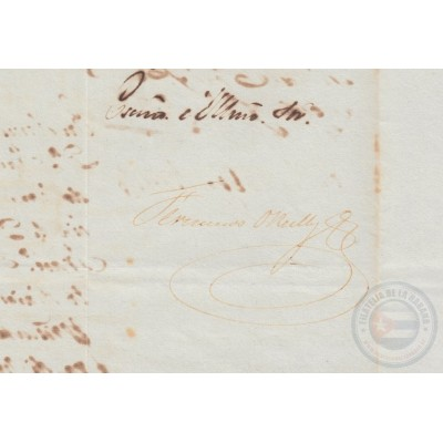 BE726 CUBA SPAIN 1843 SIGNED DOC CAPTAIN GENERAL FRANCISCO O´RELLY.