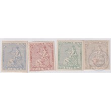 1871-44 CUBA SPAIN ISABEL II 1871 Ed.Ant.22. 25c IMPERFORATED COLOR PROOF LOT.
