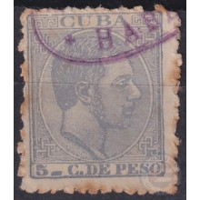 1884-36 CUBA SPAIN. 1884. ALFONSO XII. 5c FALSO POSTAL FORGERY.