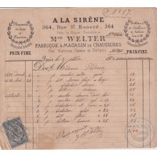 E6322 ENGLAND UK FRANCE REVENUE ILLUSTRATED BUSSINES INVOICES 1870´.