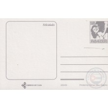 2002-EP-41 CUBA 2002 POSTAL STATIONERY ERROR DISPLACED CUT. MOTHER DAY SPECIAL DELIVERY FLOWERS FLORES.