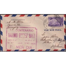 1936-FDC-104 CUBA FDC 5c AIR 1936 RED CANCEL CENT. MAXIMO GOMEZ. CAMAGUEY.