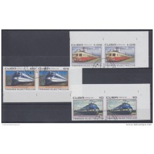 2007 D1613 CUBA 2007 MNH IMPERFORATED 3 PAIR CANCELLED ELECTRIC RAILOAD FRANCE FRANCIA HOLANDA NEDERLAND HOLLAND ITALIA ITALY