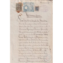 1884-UF-41 CUBA (LG1938) 5c + TIMBRE MOVIL SPAIN 1889 SEALLED PAPER WITH POST OFFICE STAMP REVENUE USE.