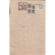 1884-UF-42 CUBA (LG1939) 10c + 2 1/2 SPAIN 1889 SEALLED PAPER WITH POST OFFICE STAMP REVENUE USE.
