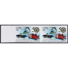 2011.436 CUBA MNH 2011 IMPERFORATED PROOF PAIR 90c 50 ANIV MINISTERIO DEL INTERIOR BOMBEROS FIREFIGHTING.